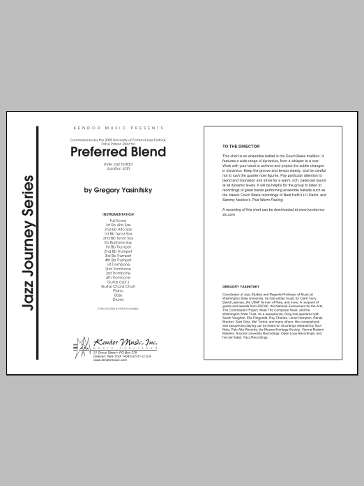 Preferred Blend (COMPLETE) sheet music for jazz band by Gregory Yasinitsky. Score Image Preview.