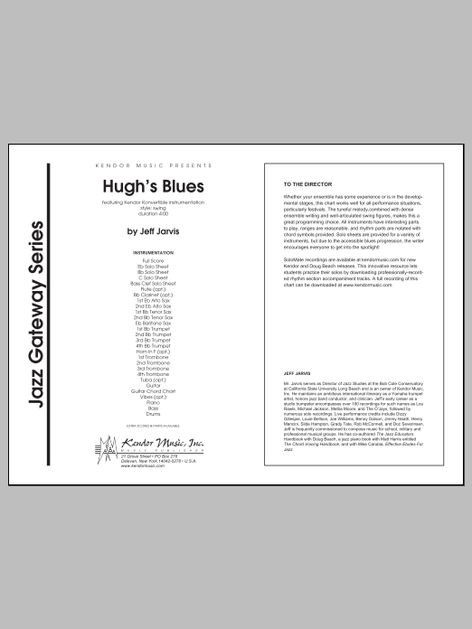 Hugh's Blues (COMPLETE) sheet music for jazz band by Jeff Jarvis. Score Image Preview.