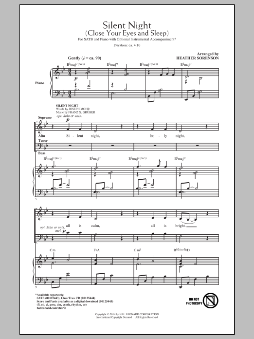 Partition chorale Silent Night (Close Your Eyes And Sleep) de Joseph Mohr - SATB