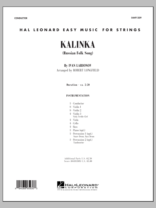 Kalinka (COMPLETE) sheet music for orchestra by Robert Longfield. Score Image Preview.