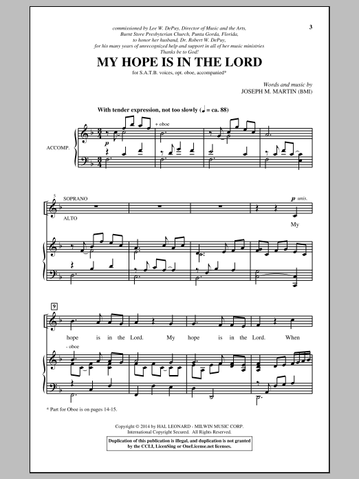 My Hope Is In The Lord Sheet Music