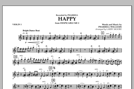 Happy (from Despicable Me 2) - Violin 1 (Orchestra)