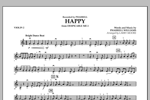 Happy (from Despicable Me 2) - Violin 2 (Orchestra)