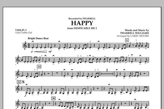 Happy (from Despicable Me 2) - Violin 3 (Viola Treble Clef) (Orchestra)