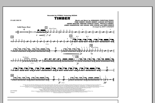 Timber - Snare Drum (Marching Band)