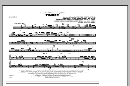 Timber - Quad Toms (Marching Band)