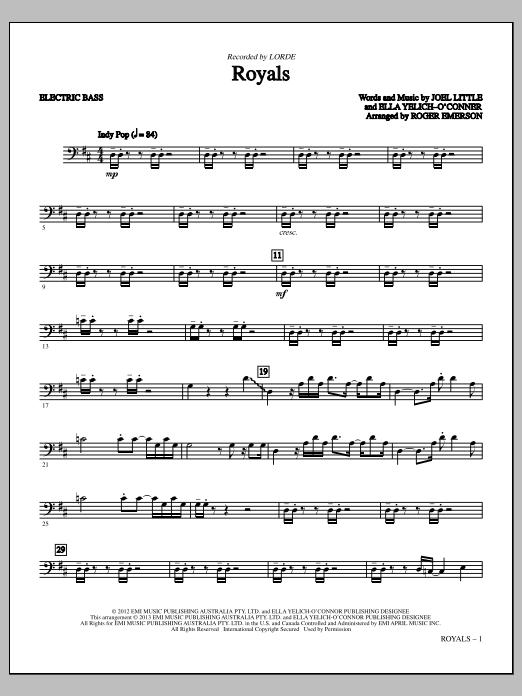 Royals - Bass (C) (Choir Instrumental Pak)