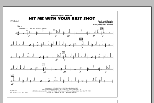 Hit Me with Your Best Shot - Cymbals (Marching Band)