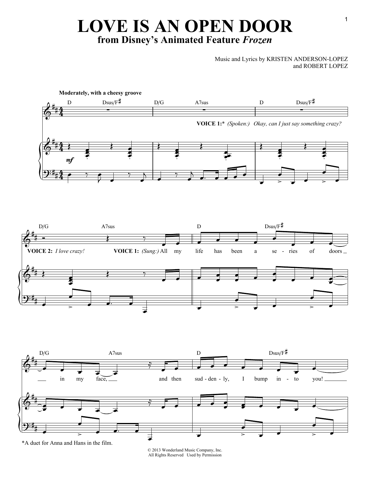 Love Is An Open Door Sheet Music | Robert Lopez | Vocal Duet