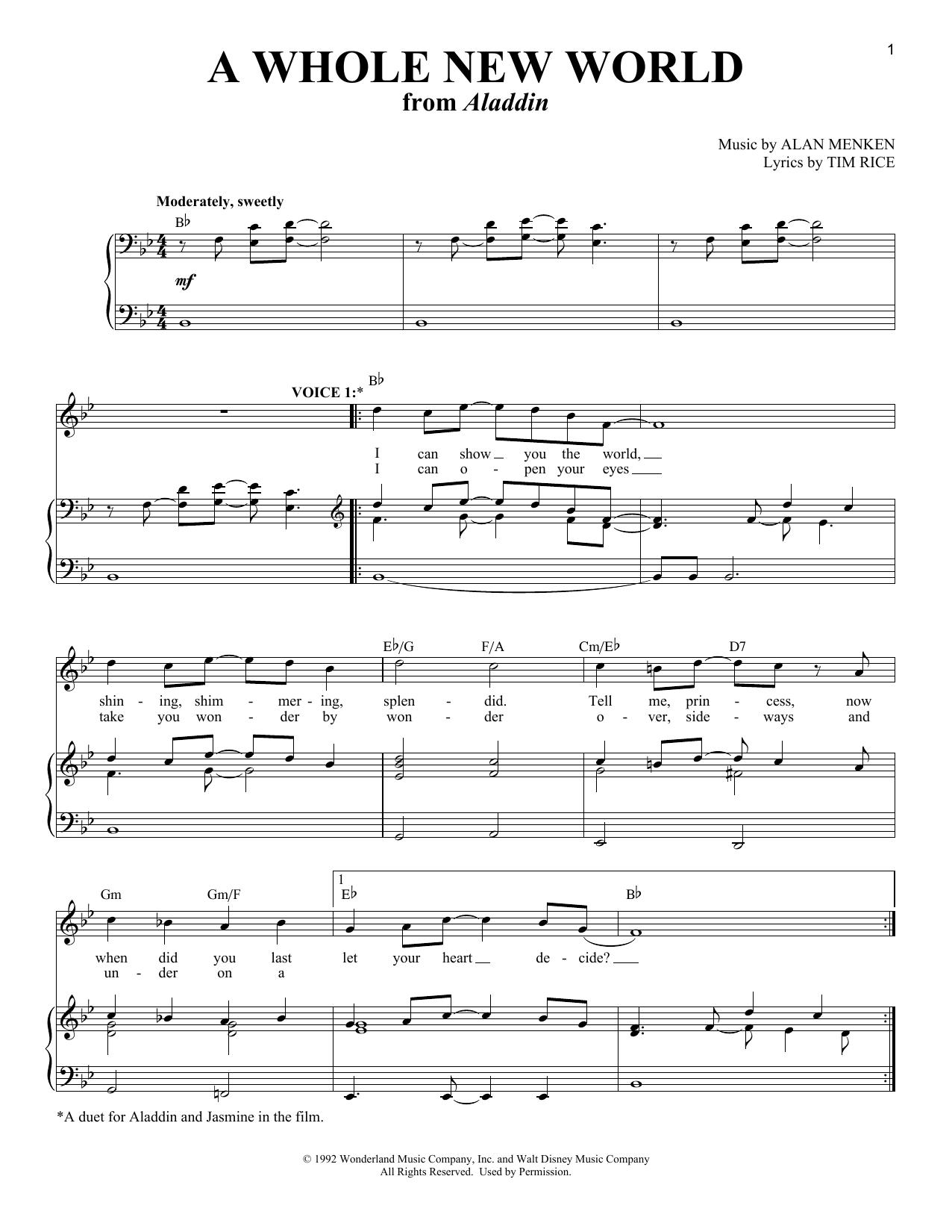 A Whole New World (Aladdin's Theme) Sheet Music