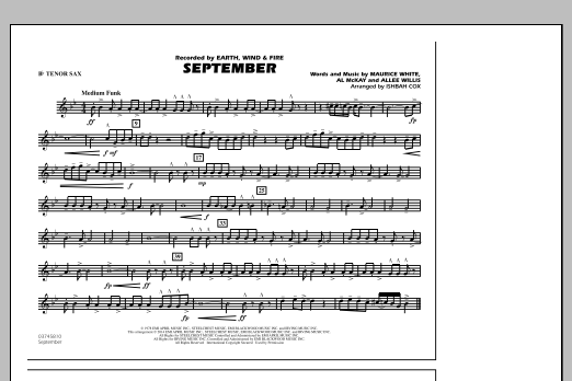 September - Bb Tenor Sax (Marching Band)