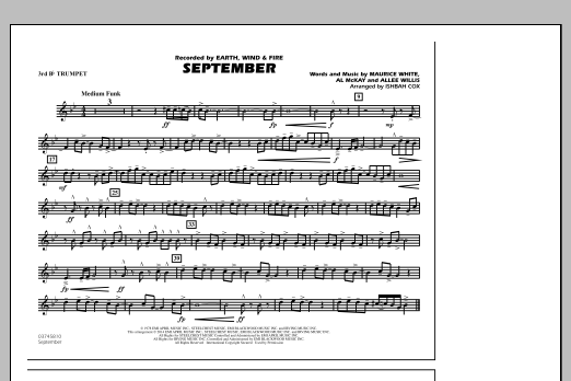 September - 3rd Bb Trumpet (Marching Band)