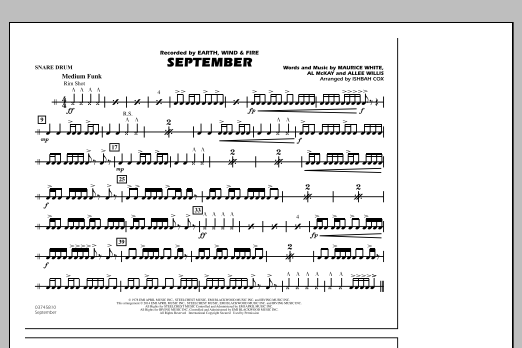 September - Snare Drum (Marching Band)