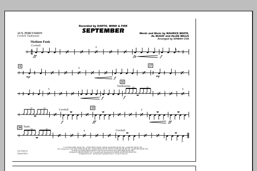 September - Aux Percussion (Marching Band)