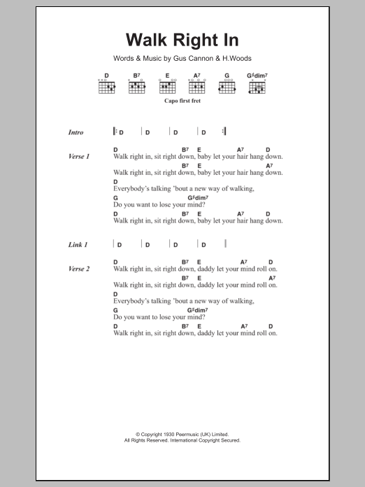 Walk Right In Sheet Music The Rooftop Singers Lyrics Chords