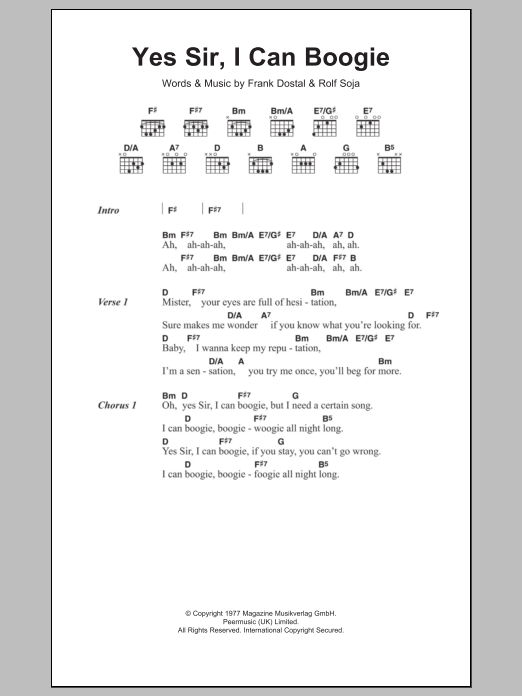 Yes Sir, I Can Boogie by Baccara Guitar Chords/Lyrics Digital Sheet Music