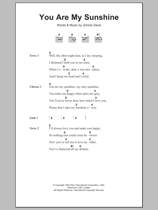 You Are My Sunshine by Jimmie Davis - Guitar Chords/Lyrics - Guitar ...