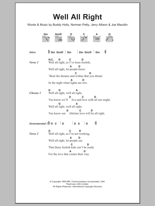 Well All Right by Buddy Holly - Guitar Chords/Lyrics - Guitar Instructor