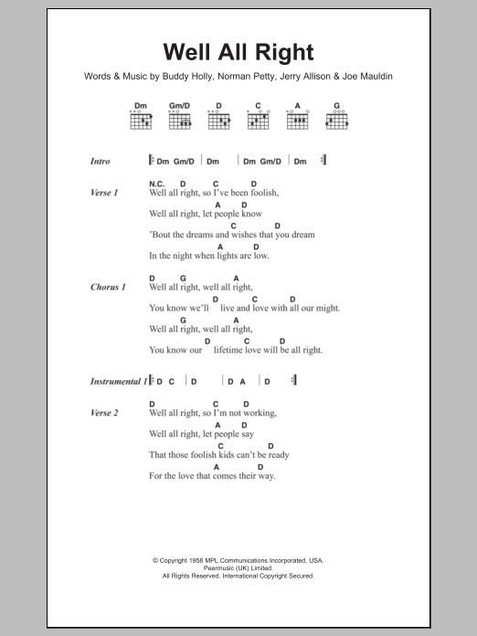Well All Right By Buddy Holly Guitar Chordslyrics Guitar Instructor