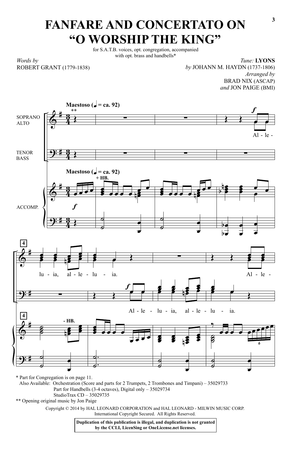 "Partition chorale Fanfare And Concertato On ""O Worship The King"" (arr. Brad Nix) de Johann M. Haydn - SATB"