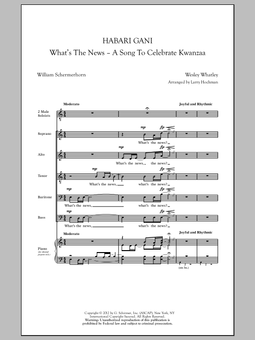 Habari Gani (What's The News) Sheet Music