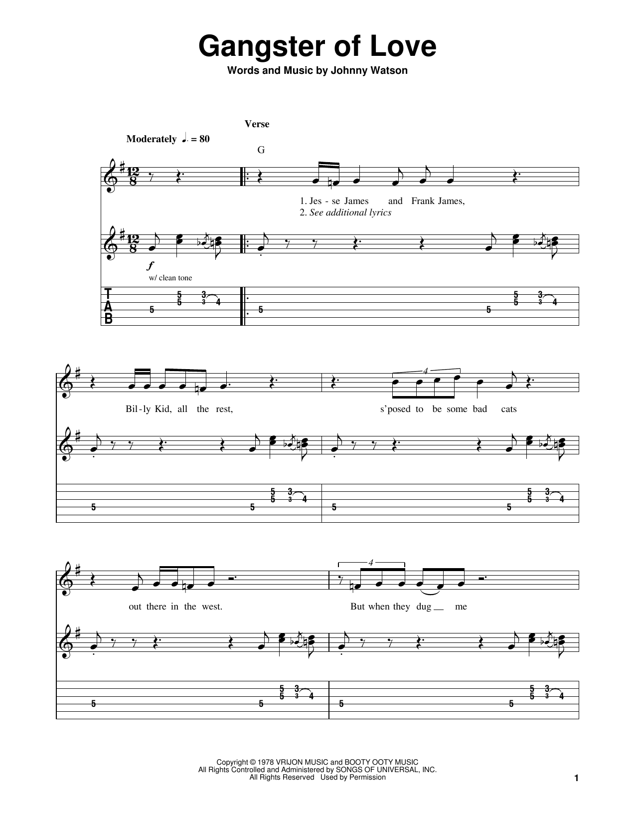 Gangster Of Love (Easy Guitar Tab)
