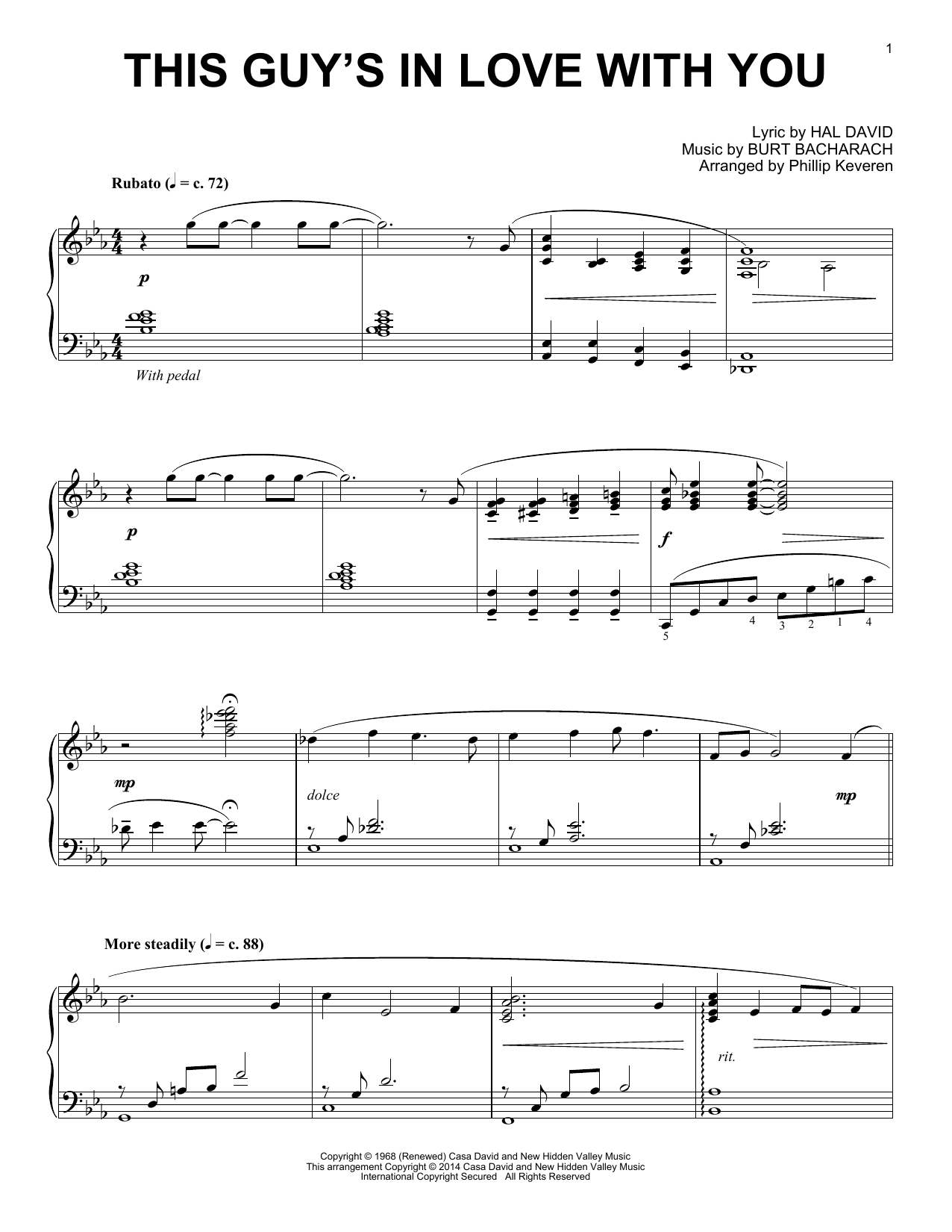 Partition piano This Guy's In Love With You de Phillip Keveren - Piano Solo