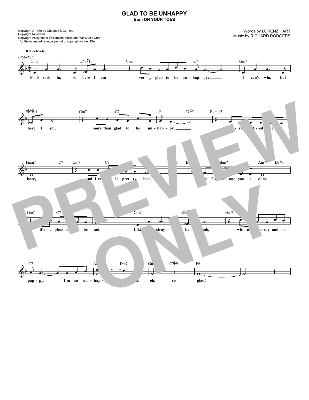 Glad To Be Unhappy (Lead Sheet / Fake Book)