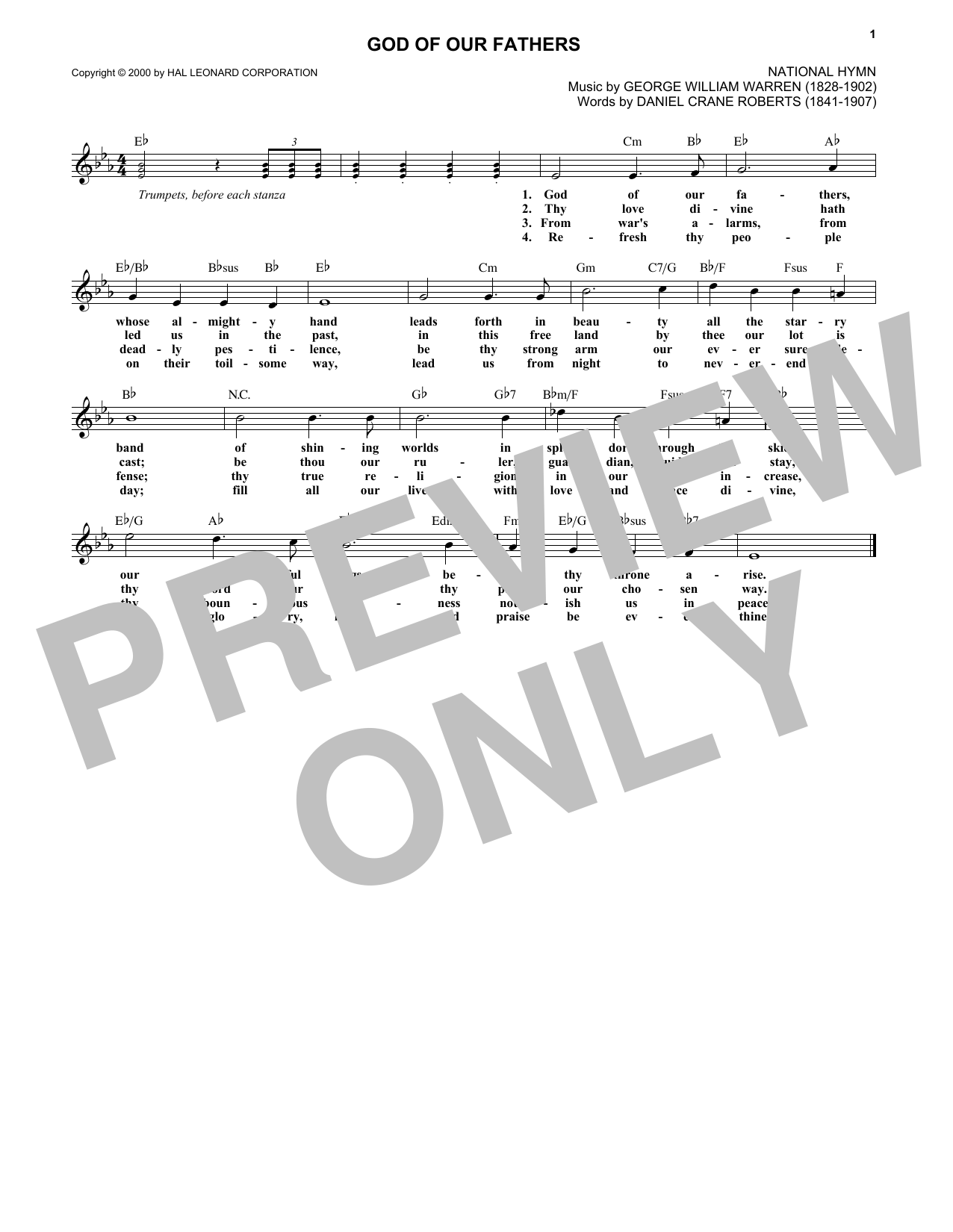 God Of Our Fathers (Lead Sheet / Fake Book)