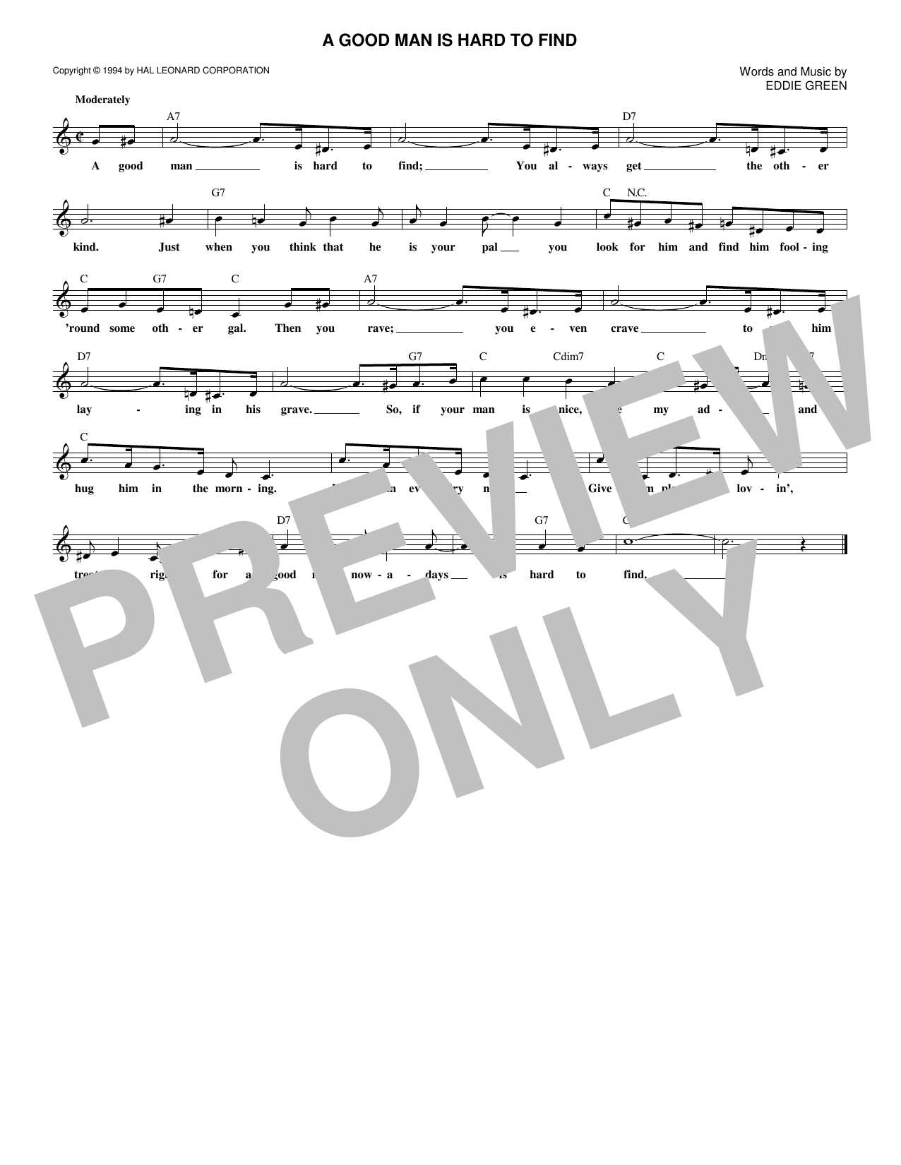 A Good Man Is Hard To Find (Lead Sheet / Fake Book)