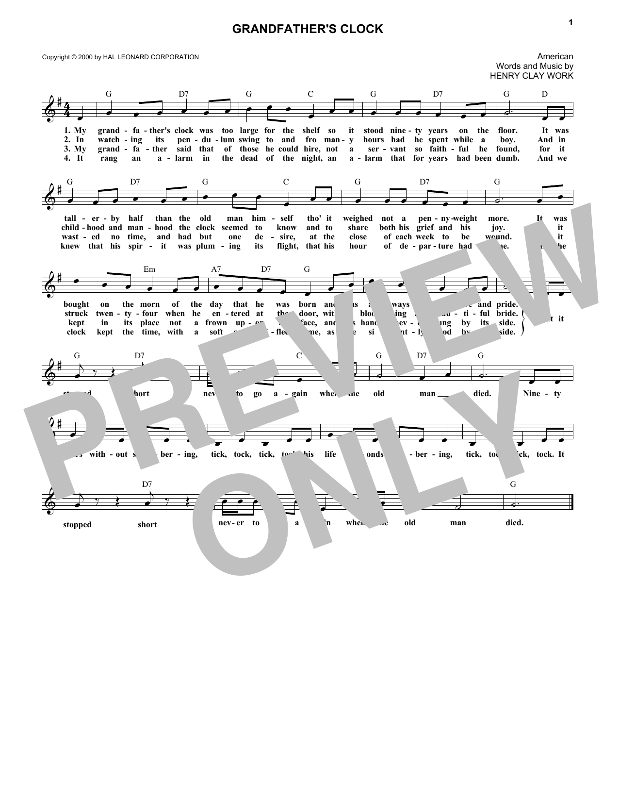 Grandfather's Clock (Melody Line, Lyrics & Chords)