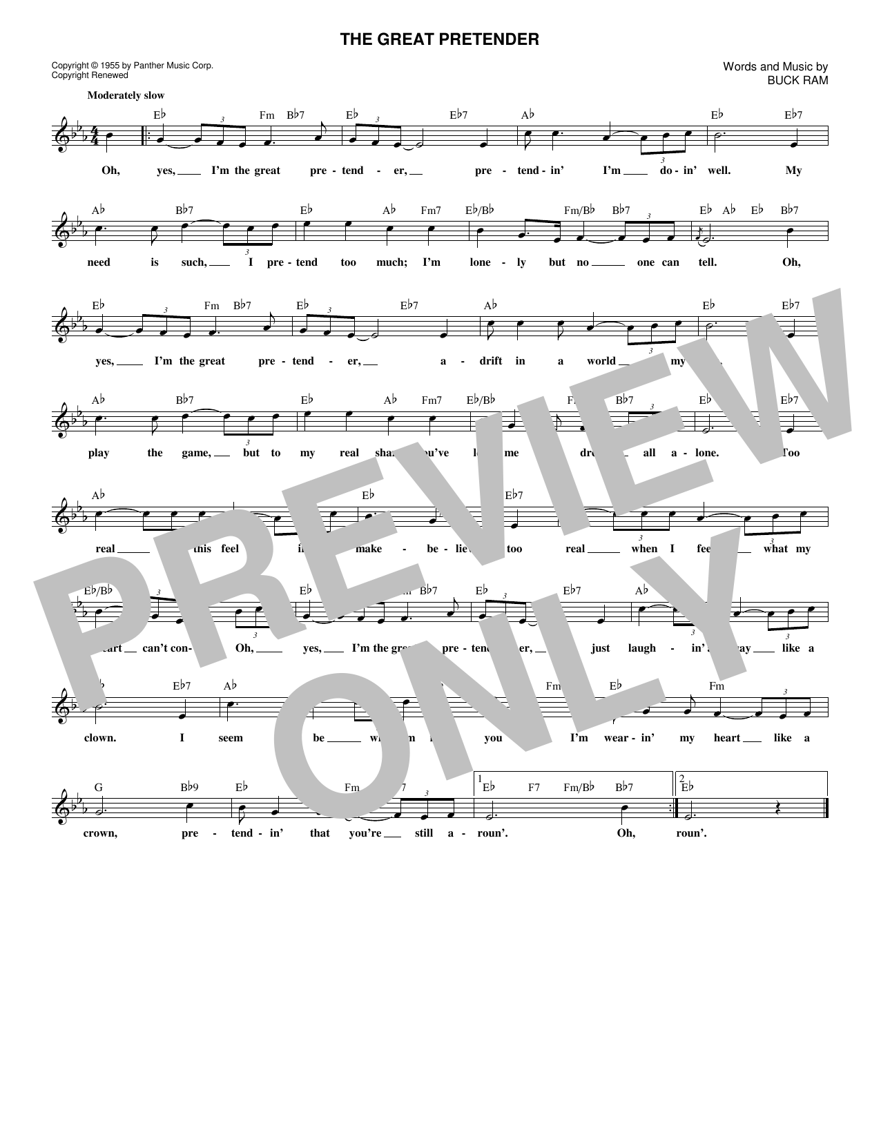The Great Pretender (Lead Sheet / Fake Book)