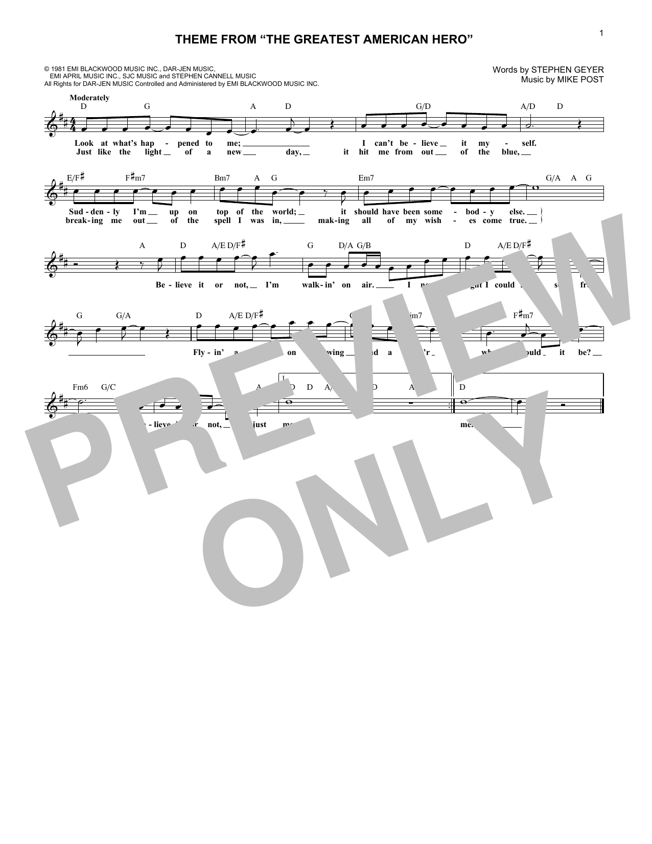 """Believe It Or Not (Theme From """"The Greatest American Hero"""") (Lead Sheet / Fake Book)"""