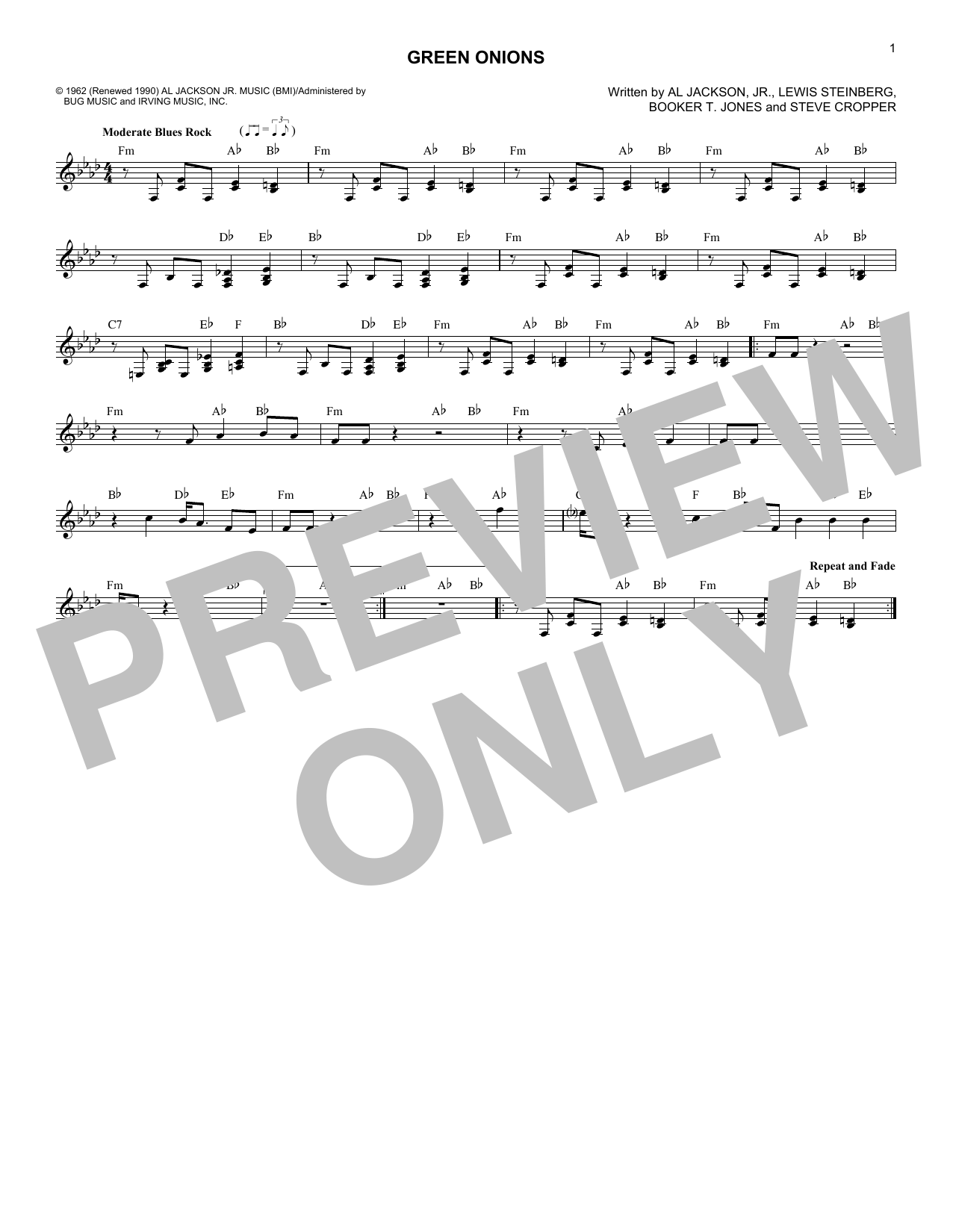 Green Onions (Lead Sheet / Fake Book)