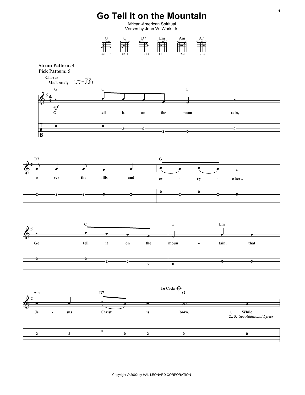 Go, Tell It On The Mountain (Easy Guitar Tab)