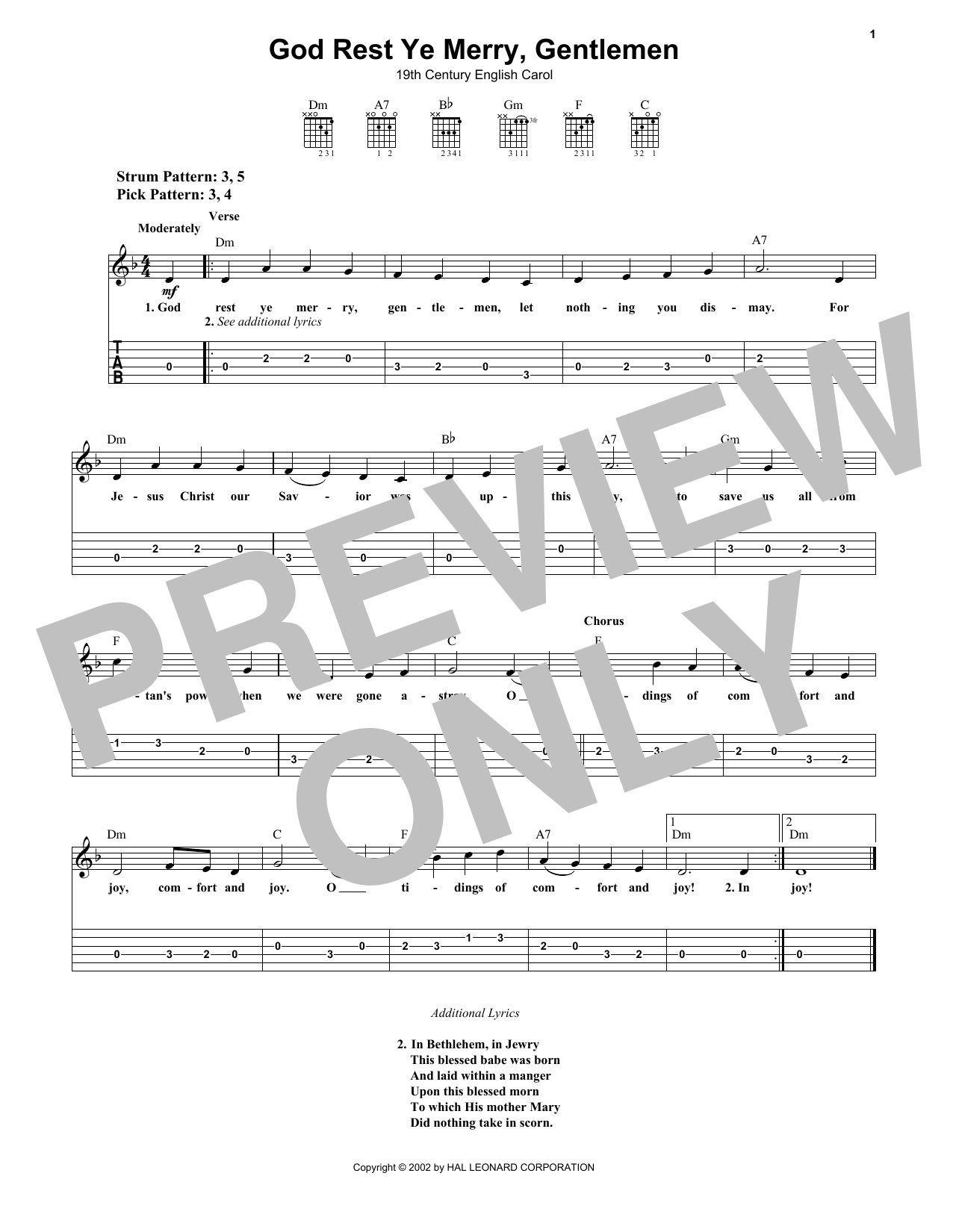 Tablature guitare God Rest Ye Merry, Gentlemen de Traditional English Carol - Tablature guitare facile