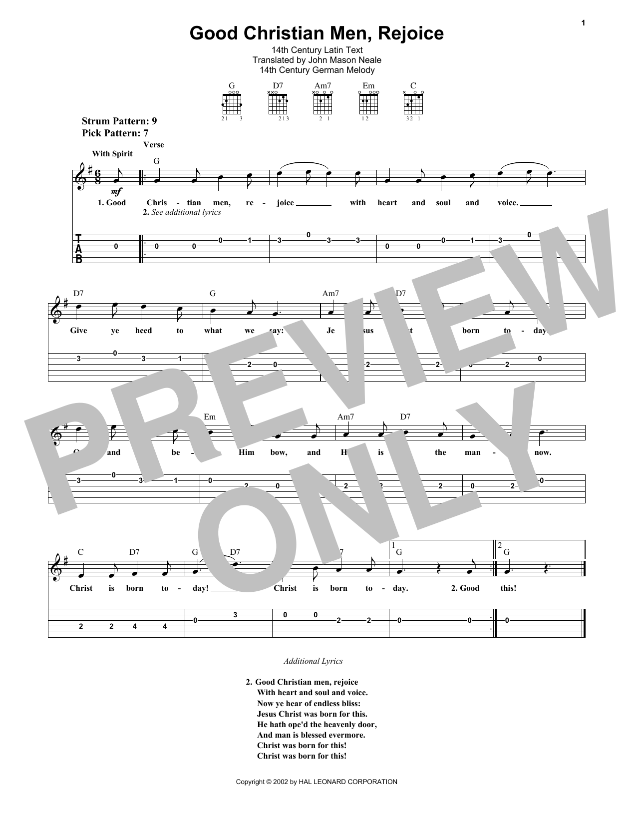 Tablature guitare Good Christian Men, Rejoice de Christmas Carol - Tablature guitare facile