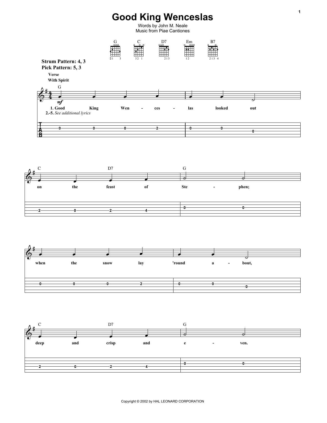 Tablature guitare Good King Wenceslas de John M. Neale - Tablature guitare facile