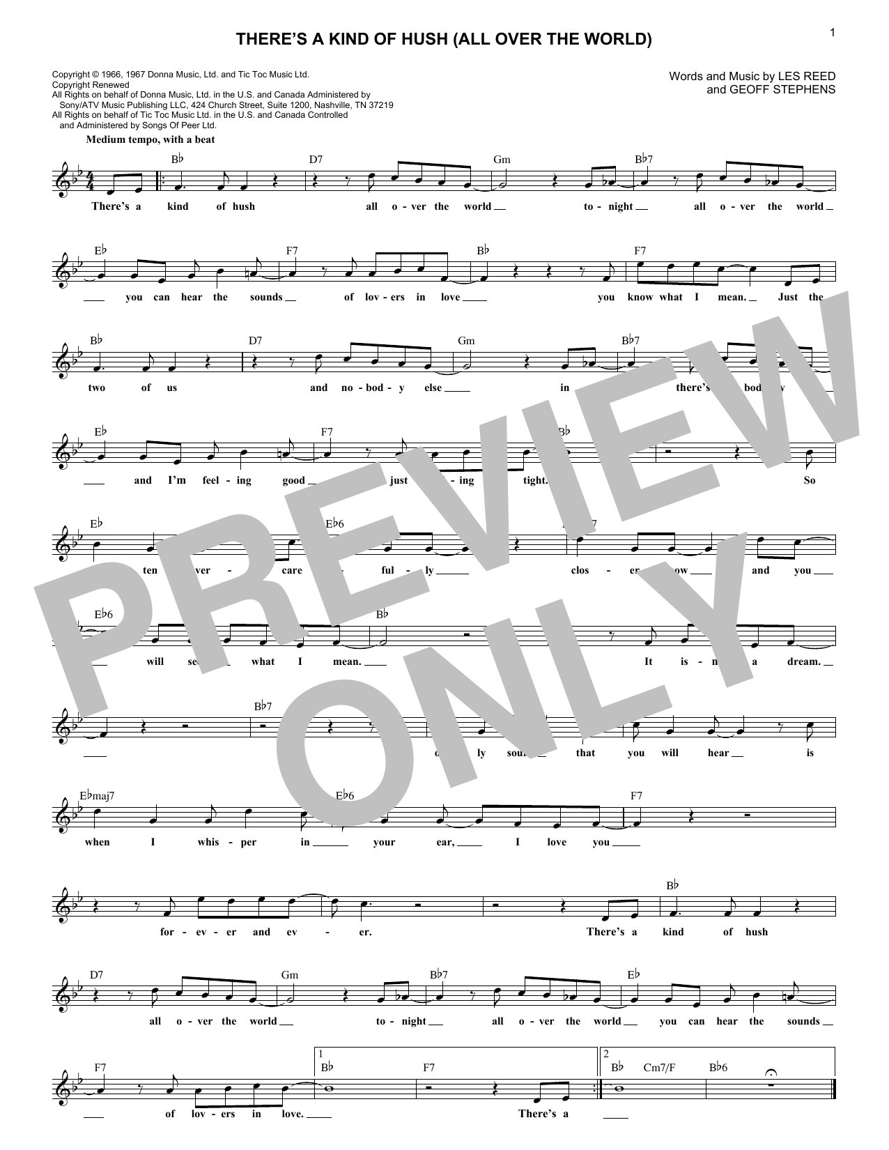 There's A Kind Of Hush (All Over The World) (Lead Sheet / Fake Book)