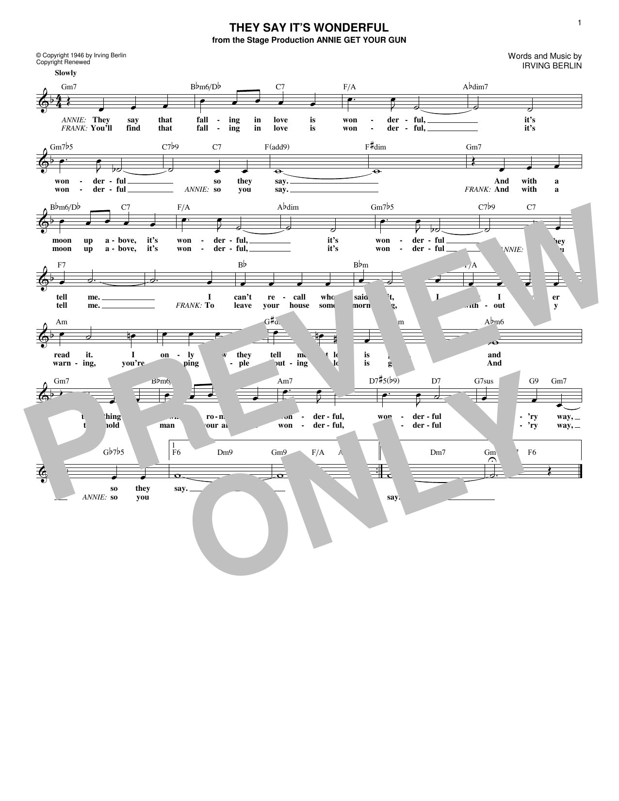 They Say It's Wonderful (Lead Sheet / Fake Book)