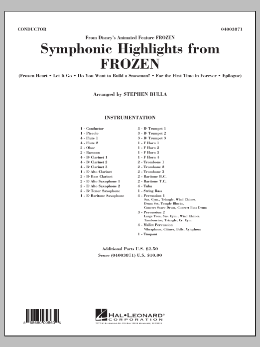 Symphonic Highlights from Frozen (COMPLETE) sheet music for concert band by Stephen Bulla. Score Image Preview.