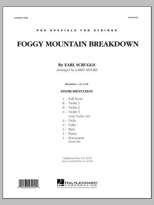 Foggy Mountain Breakdown (COMPLETE) sheet music for orchestra by Larry Moore and Earl Scruggs. Score Image Preview.