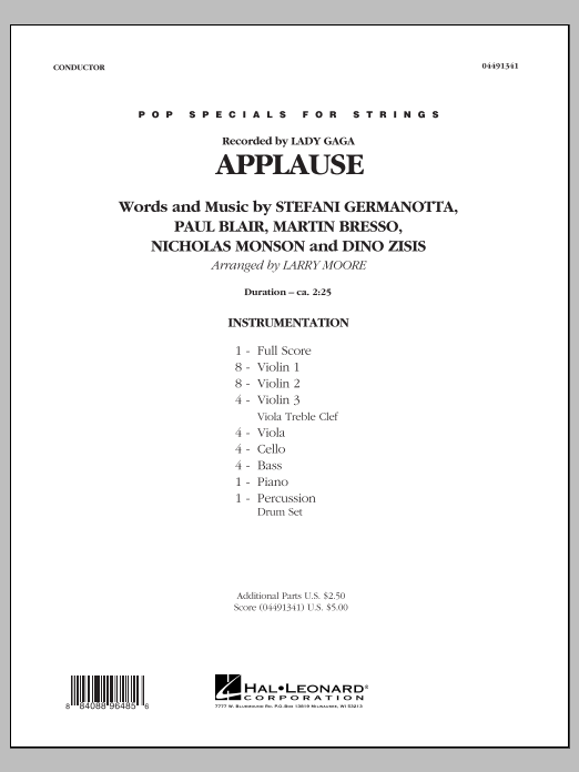 Applause (COMPLETE) sheet music for orchestra by Larry Moore, Lady Gaga, Paul Blair and William Grigahcine. Score Image Preview.