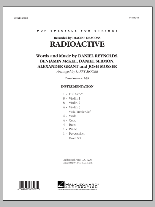 Radioactive (COMPLETE) sheet music for orchestra by Larry Moore, Alexander Grant, Daniel Reynolds, Daniel Sermon, Imagine Dragons and Josh Mosser. Score Image Preview.