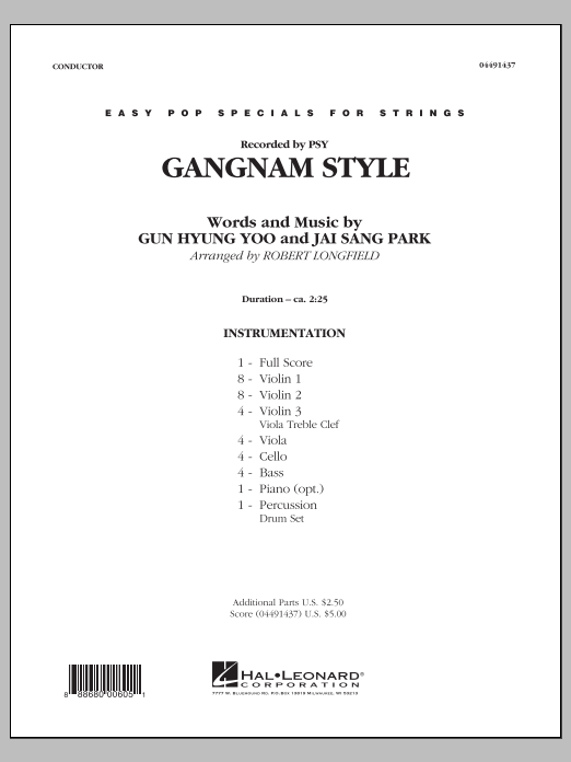 Gangnam Style (COMPLETE) sheet music for orchestra by Robert Longfield, Gun Hyung Yoo, Jai Sang Park and PSY. Score Image Preview.