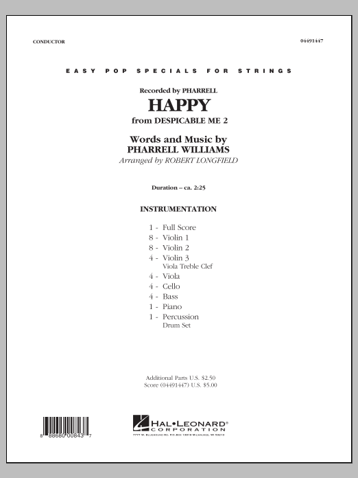Happy (from Despicable Me 2) (COMPLETE) sheet music for orchestra by Robert Longfield, Pharrell and Pharrell Williams. Score Image Preview.