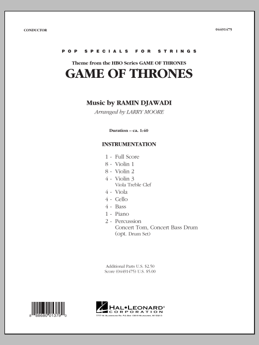 Game of Thrones (COMPLETE) sheet music for orchestra by Larry Moore and Ramin Djawadi. Score Image Preview.