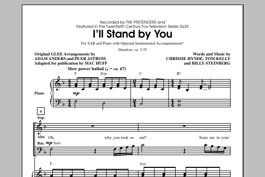 Partition chorale I'll Stand By You (arr. Mac Huff) de Carrie Underwood - SAB