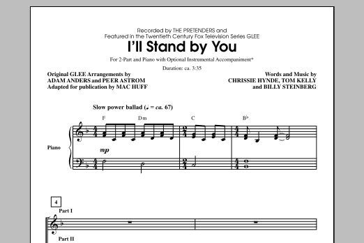 Partition chorale I'll Stand By You (arr. Mac Huff) de Carrie Underwood - 2 voix
