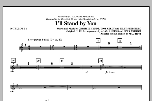 I'll Stand By You (complete set of parts) sheet music for orchestra/band by Mac Huff and Glee Cast. Score Image Preview.